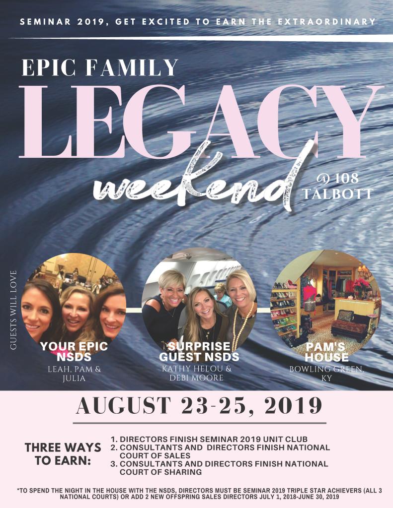 2019 LEGACY weekend